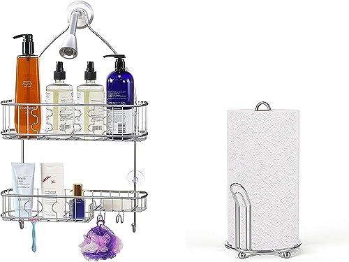 lowest Simple lowest Houseware Bathroom Hanging online Shower Head Caddy Organizer + Paper Towel Holder, Chrome sale