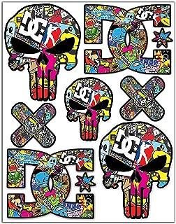 Set of 7 x Vinyl Stickers Decals Warning Funny Punisher DC Bomb Sega Car Motorcycle Helmet D 15