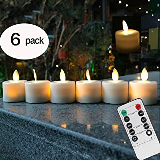 Remote Control LED Tea Light Fake Flameless Candles with Timer,Battery Operated Warm White Window Pillar Candle Bluk with Dancing Flickering Bulb for Christmas/Wedding/Birthday Party-Pack of 6
