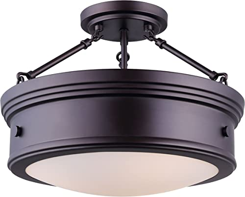 new arrival Canarm popular LTD ISF624A03ORB Boku popular ORB 3 Bulb Semi-Flush Mount Oil Rubbed Bronze with Flat Opal Glass outlet sale