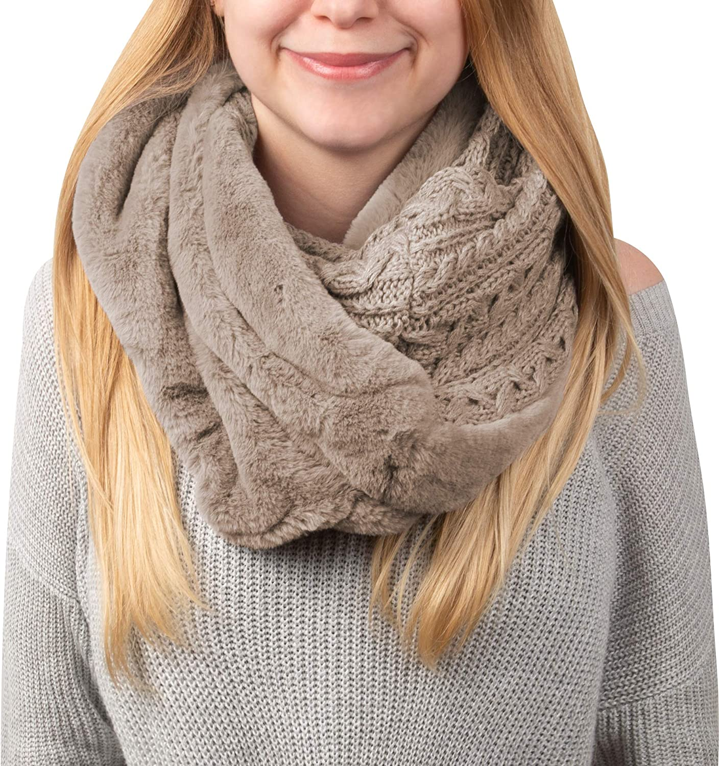 Pavilion Gift Company Soft Beige-Cable Knit & Faux Fur Infinity Scarf, Brown, One Size