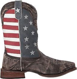 Distressed Brown Leather Vamp/Flag Shaft