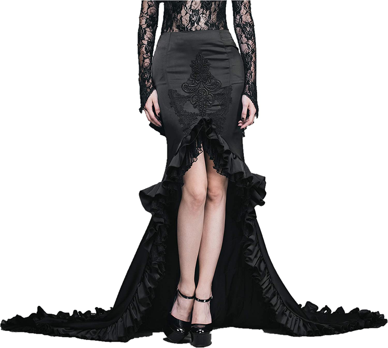 Eva Lady Women's Black Gothic Vinatge Steampunk Fishtail Party Mermaid Maxi Skirt