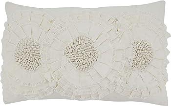 """SARO LIFESTYLE Floral Appliqué Throw Pillow, 14"""" x 23"""" Down Filled, Ivory"""