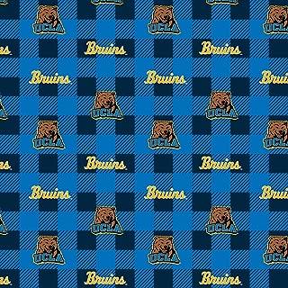 UCLA Fleece Blanket Fabric-UCLA Bruins Fleece Fabric with Buffalo Plaid Design