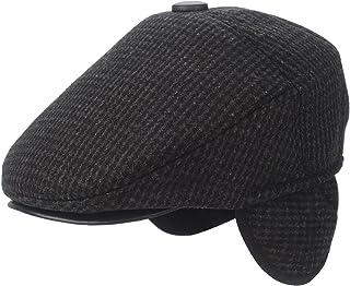 Flammi Men s Tweed Flat Cap Earflap Hat Soft Lined Newsboy Ivy Cap 4db8410ce672