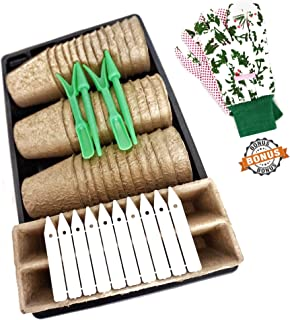 MeleMade Peat Pots Kit, Seed Starter Tray Kit with Pair of Garden Gloves, Plant Starters, Seedling Planting Pots, Biodegradable Pots