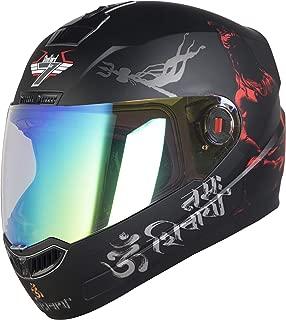 Steelbird SBA-1 Mahadev Night Vision Full Face Helmet in Matt Finish (Medium 580 MM, Matt Black/Red)