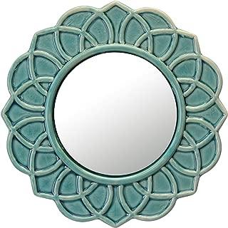 Stonebriar Turquoise Decorative Round Floral Ceramic Wall Hanging Mirror