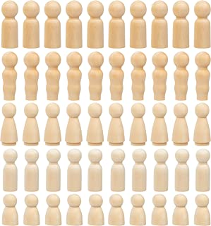 Peg Dolls - 50-Pack Unfinished Wooden Peg Dolls, Peg People, Doll Bodies, Wooden Figures, for Painting, Craft Art Projects, Peg Game, Decoration, Men Women Girls Boys Babies, 5 Assorted Shapes