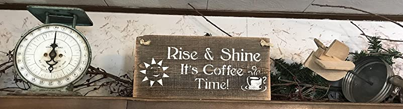 PotteLove Rise and Shine It'S Coffee Time Plaque Barn Wood Plank Hanging Sign Rustic Wall Decor Good Morning Art Kitchen Door Hanging Bedroom Shelf Sitter