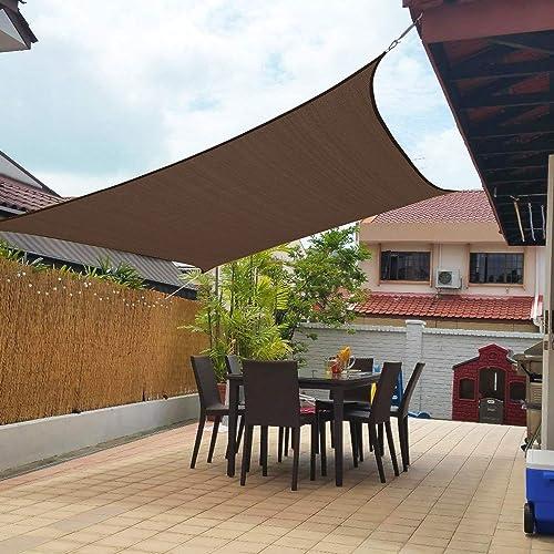 Artpuch 10'x13' Sun Shade Sails Canopy Rectangle Brown, 185GSM Shade Sail UV Block for Patio Garden Outdoor Facility ...