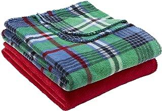 Mainstays Fleece Plush Throw Blanket, Set of 2, Green Plaid