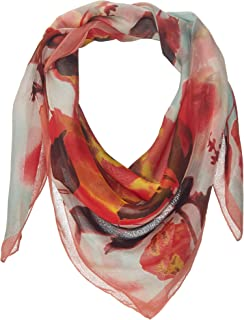 VC218 New Vince Camuto Celestial Bloom Square Coral 100/% Silk Scarf 36X36in