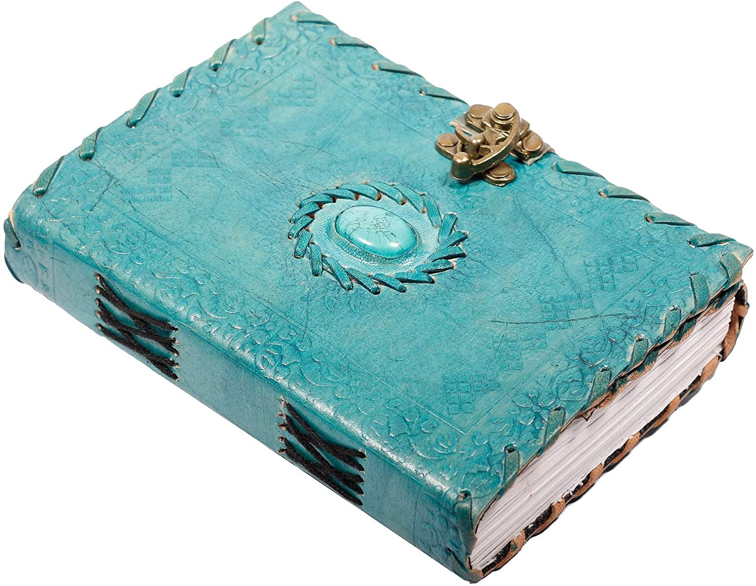Tuzech Leather Travel Writing Journal Handmade - 100% Pure Genuine Leather Diary Vintage Unique for Men Women Kids   Used in Home School Office with C-Lock Ocean Blue (7 Inches)
