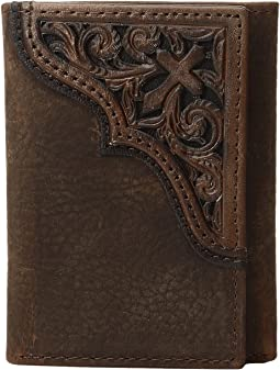 Scroll Cross Corner Trifold Wallet