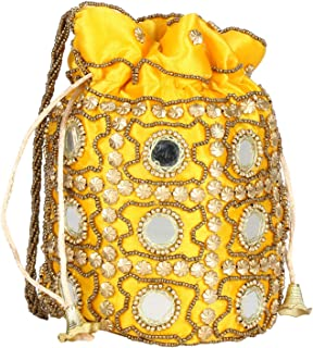 Traditional Satin Potli Bag with Round Mirror for Women & Girls