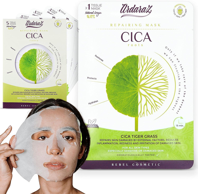 Ardaraz - Mascarilla facial Hidratante, Reparadora, Calmante y Redensificante impregnada en Sérum de CICA, centella asiática. Mascarillas faciales Pack de 5