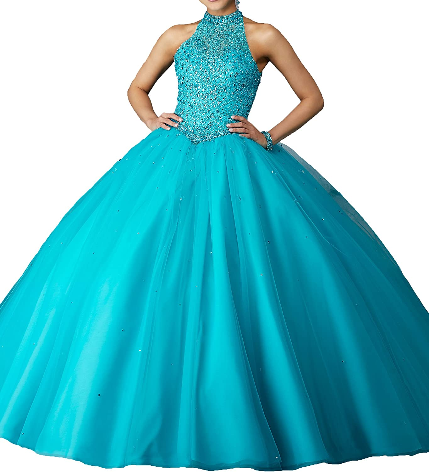 MFandy 2019 Women High Neck Sequin Ball Gowns Girls Quinceanera Dresses