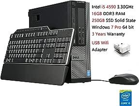 Dell Optiplex 9020 SFF Desktop Computer Intel Quad-Core i5-4590 up to 3.7GHz, 16GB RAM, 250GB SSD, USB WiFi Adapter, HDMI, Windows 7 Pro (Renewed)