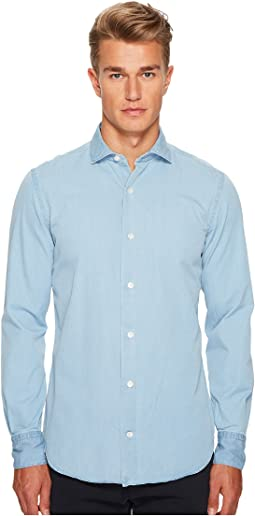 Chambray Spread Collar Button Down