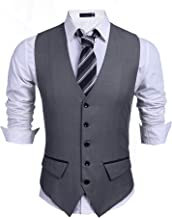 JINIDU Men's Business Suit Vest,Slim Fit Skinny Wedding Waistcoat