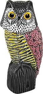 Home-X Owl Decoy Bird Deterrent with Rotating Head, Owl Decoy to Scare Birds Away, Garden Fake Owl Scarecrow, 15