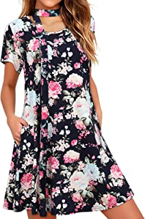 Damen Freizeitkleider mit Taschen Lockeres bequemes Swing-Tunika-T-Shirt Hawaii-mit Gürtelparty Partykleider