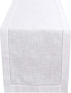 Light & Pro White Table Runner 90 inch in Textured Cotton slub with Hemstitched Detailing,Decorative Table Runner,Farmhouse Table Runner,Rustic Bridal Table Runner,Wedding Table Runne (Size 16x90)