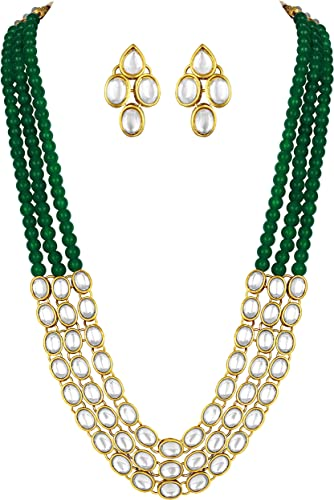 Gold Plated Traditional Kundan Long Necklace Jewellery Set With Earring For Women Girls