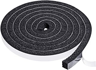 Weather Stripping 1/2 Inch W X 3/8 Inch T X 6.5 Feet Length,Low Density Open-Cell Foam Strip Non-Flammable Self Adhesive Seal Insulating for Doors Total 13 Feet (2 Rolls of 6.5 Ft Each)