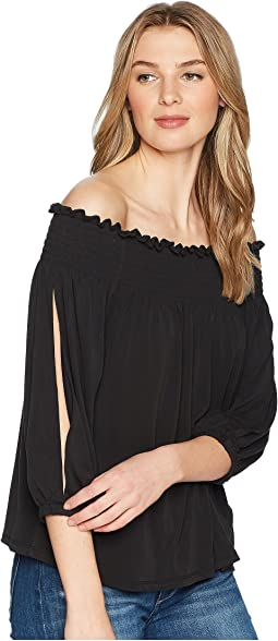 1.STATE Smocked Edge Off Shoulder Top