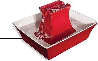PetSafe Drinkwell keramik Pagode fontän 2 l röd dricksfontän för katter och hundar dubbel vattenstråle hygienisk