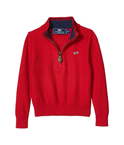 Vineyard Vines Kids Classic Zip Mock Sweater (Toddler/Little Kids/Big Kids) (Red Velvet) Boy