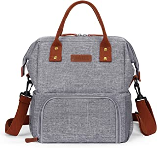 LOKASS Lunch Bags For Women Wide-Open Insulated Cooler Tote Bag Water-Resistant Thermal Lunch Box Lunch Container With Double Deck Capacity Adjustable Shoulder Strap for Men/Work/Picnic/Office(Grey)