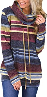 Yizenge Casual Cowl Neck Sweatshirts for Women Striped Long Sleeve Tops Pullover Sweatshirt with Pockets (S-XXL)