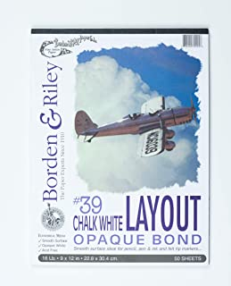 Borden & Riley #39 Chalk White Layout Opaque Bond Pad, 9 x 12 Inches, 16 lb, 50 White Sheets, 1 Each (039P091250)