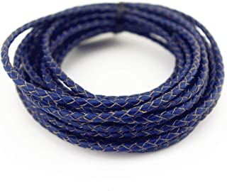 Glory Qin 5 Yards Round Folded Bolo Braided Genuine Leather Cord for Making Bracelet & Jewelry (Royal Blue, 3mm)