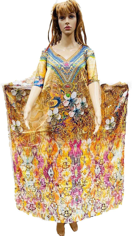HarLen Women's Shantoon Kaftan Summer Dress Maxi Cover Ups Beachwear (Free Size) (Multi-Color_5)