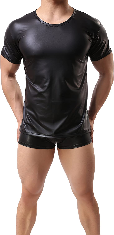 ONEFIT Men Black Wet Look Short T T-Shirt Lowest price challenge Nightwear Al sold out. Leather Faux