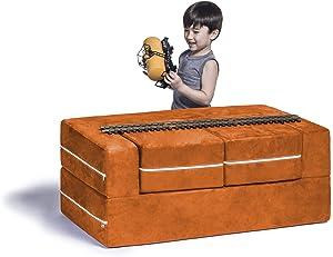 Jaxx Zipline Kids Modular Sofa & Ottomans/Fold Out Lounger, Mandarin (Renewed)