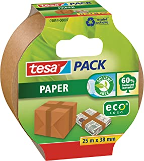 tesapack Paper ecoLogo - Umweltgerechtes Paketband aus Papier, 60 % biobasiertes Material - Braun - 25m x 38mm