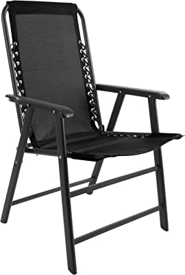 Suspension Folding Chair for Indoor/Outdoor Use- Portable Armchair with Durable Frame for Sport Events, Patio, Beach and More by Pure Garden (Black)