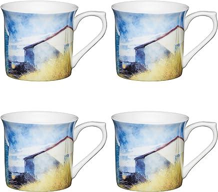 Preisvergleich für Kitchen Craft AMZKCMFLT01SET4 Strandhütten Design Aquarell Stil, Bedruckte Tassen in Flötenform, 300 ml, Porzellan, mehrfarbig, 8,5 x 11,5 x 8 cm, 4-Einheiten