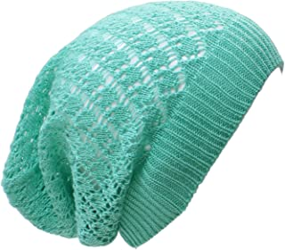 an Adult Slouchy Beanie Hat Open Weave Crochet Mesh Light Fashion Baggy Cap
