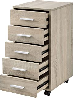[en.casa] Armario de Oficina 63 x 33 x 38cm Mueble de Oficina Gabiente de Archivos 5 cajones Roble