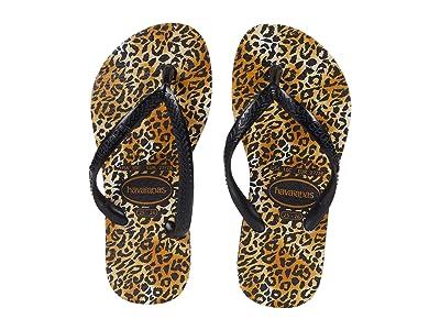 Havaianas Kids Slim Leopard Flip-Flop (Toddler/Little Kid/Big Kid) (Black/Black) Girl
