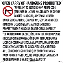 National Marker M461R Te inches Xas Open Carry Handgun Prohibited Sign,24 inches X 24 inches, Rigid Plastic