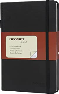 Maggift Hardcover Notebook, Thick Classic Notebook with Pen Loop - Ruled Hardcover, Fine PU Leather, 240 Pages, 8.5 x 5.7 in, Black