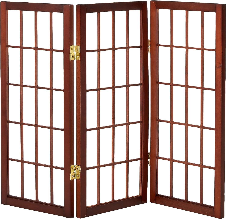 Oriental Furniture 2-Feet Window Pane Desktop Japanese Shoji Privacy Screen Room Divider, 3 Panel Walnut